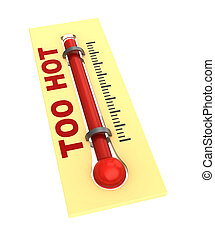 thermometer with hot temperature - 3d illustration of ...