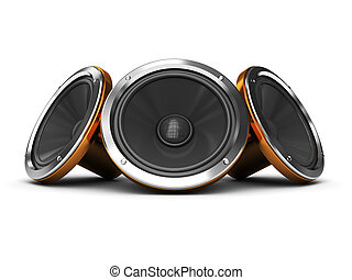 3d illustration of three audio speakers over white background