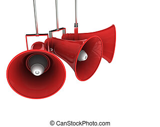 3d illustration of three broadcasting megaphones over white background