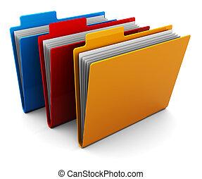 folders - 3d illustration of three colorful folders over...