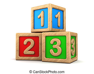 3d illustration of toy cubes with numbers signs 123