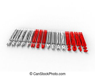 3d illustration of translation new year in barcode on white background