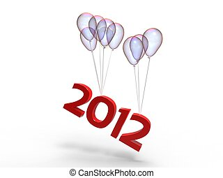3d illustration of transparent balloons doing off the year 2012 on a white background