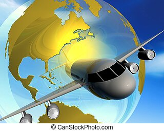 plane - 3d illustration of transportation , plane