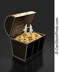 3D illustration of treasure discovery