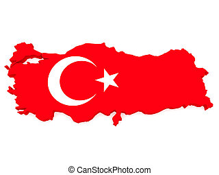 3d Illustration of Turkey Map With Turkish Flag On White