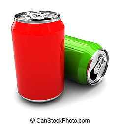 two aluminum cans - 3d illustration of two aluminum cans...
