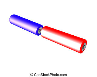 3D illustration of two batteries