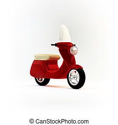 Urban Scooter in Studio - 3D Illustration of Urban Scooter...