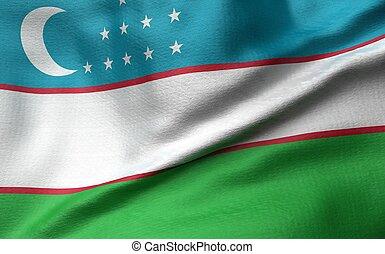 3D Illustration of Uzbekistan Flag