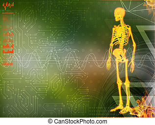 3d illustration of  walking fire skeleton by X-rays on background