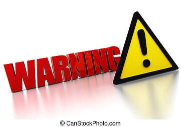3d illustration of warning sign with exclamation mark triangle