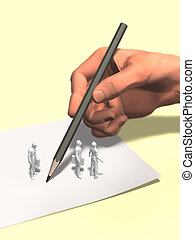 3D illustration of watching the big hand under writing