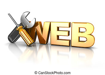web design icon - 3d illustration of web design icon over...