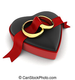 Wedding Rings - 3D Illustration of Wedding Rings Lying on an...