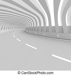 Highway Bridge - 3d Illustration of White Abstract Highway...