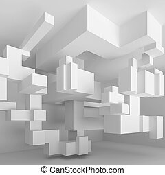 Abstract Industrial Background - 3d Illustration of White...