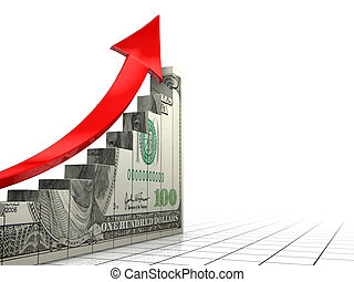 raising dollar - 3d illustration of white background with...