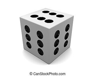 dice - 3d illustration of white dice with six on all sides