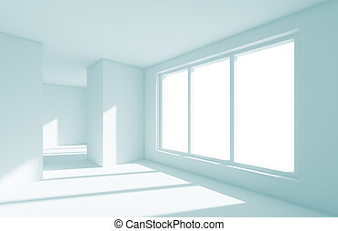 Empty Room - 3d Illustration of White Empty Room