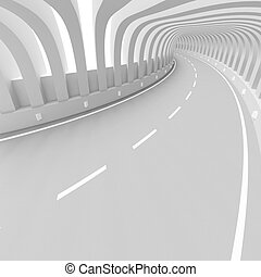 White Futuristic Tunnel - 3d Illustration of White...