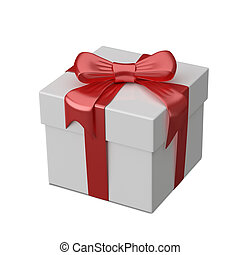 3D Illustration of White Gift Box with Ribbon