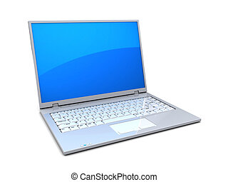 laptop computer - 3d illustration of white laptop computer...