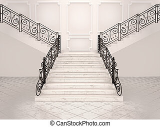 3d illustration of White marble staircase with wrought iron banister leading up