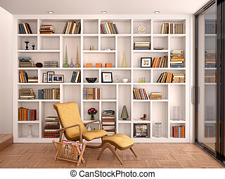3d illustration of white shelves for decoration and a ...