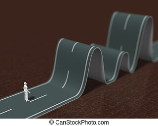 3D illustration of winding road