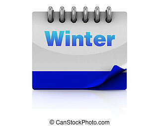 winter season - 3d illustration of winter season calendar...