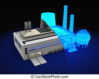 factory design - 3d illustration of wireframe factory design