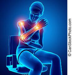Feeling Elbow pain - 3d Illustration of Women Feeling Elbow...