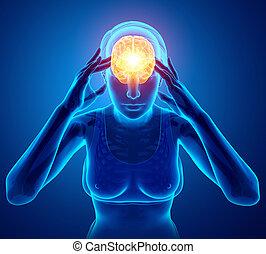 Women Feeling Headache - 3d Illustration of Women Feeling...