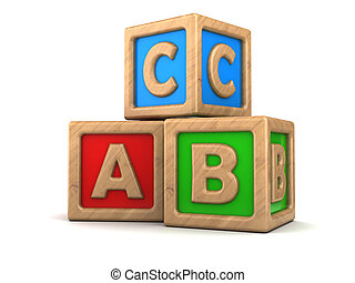 abc cubes - 3d illustration of wooden abc cubes over white ...