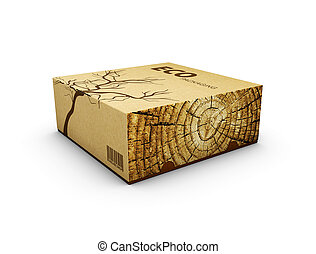 3d Illustration of Wooden box on white background