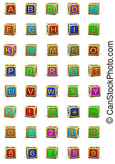 wooden cubes letters - 3d illustration of wooden cubes...