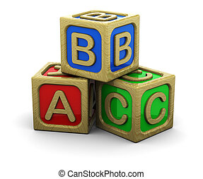 wooden cubes - 3d illustration of wooden cubes over white...