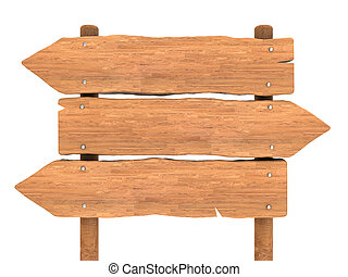 wooden index - 3d illustration of wooden index board...