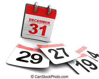 time passing - 3d illustration of year calendar and pages on...
