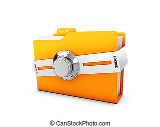 3d Illustration of Yellow folder with a metall lock. File protection. Data security concept