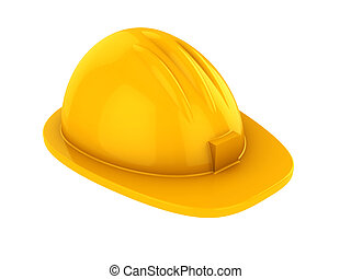 hardhat - 3d illustration of yellow hardhat isolated over...