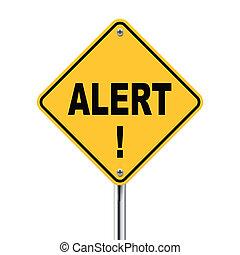 3d illustration of yellow roadsign of alert