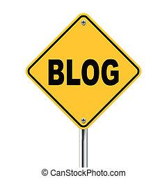 3d illustration of yellow roadsign of blog