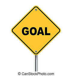 3d illustration of yellow roadsign of goal