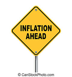 3d illustration of yellow roadsign of inflation ahead isolated on white background