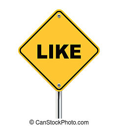 3d illustration of yellow roadsign of like
