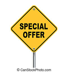 3d illustration of yellow roadsign of special offer