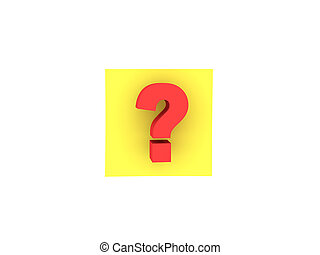 3D illustration of yellow sticky note with question mark on it