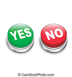 3d illustration of yes and no buttons isolated white...